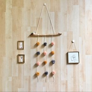 Handmade pompom wall hanging eco friendly decor